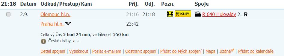 Vlakové spojení do Olomouce!